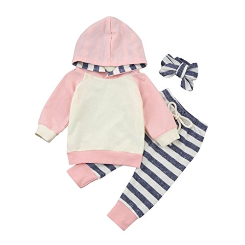 BeautyTop Baby Kleidung Set, Kleinkind Kinder Baby Mädchen 3pcs Kleinkind Baby Boy Girl Hoodie Tops + Pants + Stirnband Outfits Newborn Infant Baby Mädchen (Rosa, 0-24 Monate) (Rosa, 3-6Monate) -
