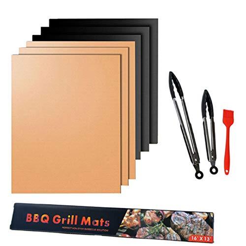 Griglia Mats antiaderente barbecue grill cottura Mats approvati dalla FDA riutilizzabile e facile da pulire funziona a gas Charcoal Grill elettrico (2 parti + spazzola + 9 clip pollici silicone)