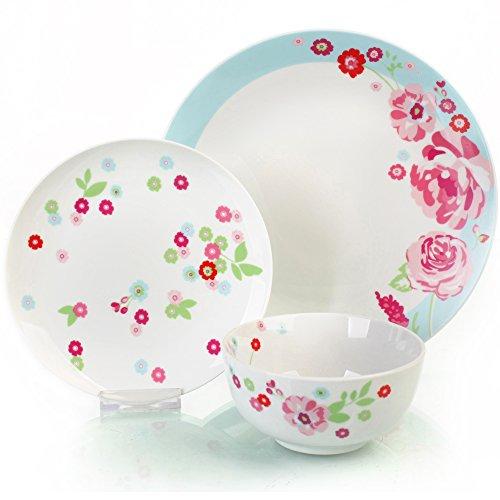 Sabichi 12pc Set Porcelain Dahlia Dinner Side Plates Soup Bowls Service 172815