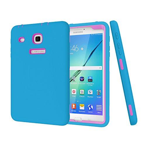 Darmor Schutzhülle für Samsung Galaxy Tab E 8.0 (strapazierfähig), Hybrid-Schutzhülle aus Polycarbonat und Silikon, DREI Schichten, Schutz für Tab E 32 GB SM-T378 / Tab E 8.0 SM-T375/T377 Bule&Purple (Galaxy 2 Samsung Tab Griff)