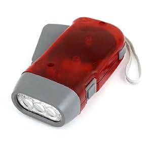Main-pression en plastique 3 Lampe torche LED avec dragonne Rouge/gris