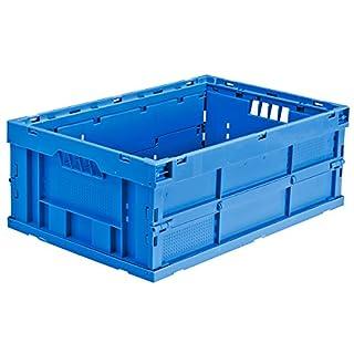 utz Faltbox aus Polypropylen - Inhalt 43 l, LxBxH 600 x 400 x 225 mm - blau, VE 4 Stk - Box Faltbox Kasten Klappbox Kunststoffbehälter Kunststoffstapelbehälter Stapelbox Stapelkasten aus Kunststoff
