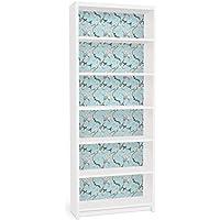 Apalis Vinilo adhesivo para muebles IKEA - Billy Bookshelf - Bright Blue floral pattern, Größe:2 mal 94cm x 76cm