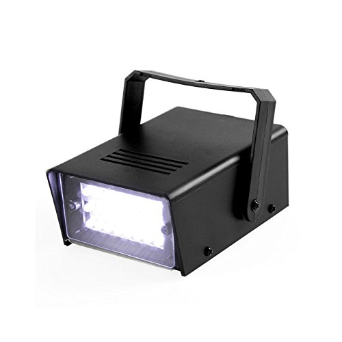 Licht Stroboskop Mini (TSSS Weiß Mini Stroboskop 24 LEDs Bühnenbeleuchtung. Ideal für Clubs, DJ, Discos, Bars und House)