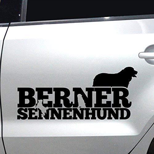 Autoaufkleber Sticker Autoaufkleber Berner Sennenhund M1 Aufkleber fürs Auto Sticker Hundesticker (Schwarz, 45x20cm) -