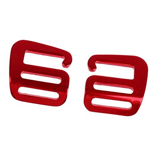 Sharplace 2pcs Metall-Schnallen, Gurtband Schnallen für Gurt Rucksack Tasche - Rot -