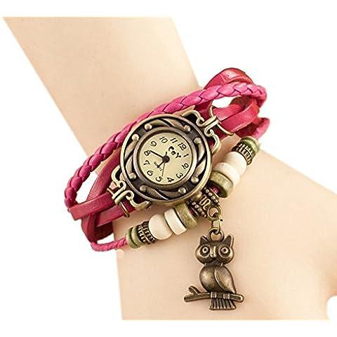 Fandecie búho de imitación de cuero de la vendimia de la pulsera de reloj de pulsera trenzada con perlas