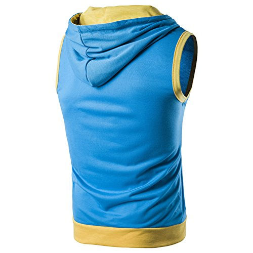 Zhuhaitf weich Men's High Quality Sleeveless Drawstring Hoodies Fitness Casual Top Blue