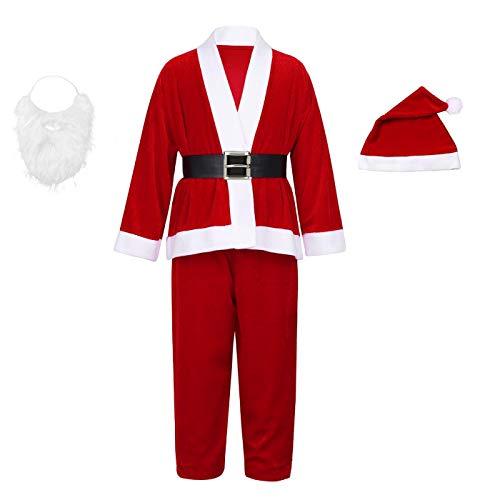 Disfraz de Papá Noel para Infantil,niño y Adulto con Chaqueta, pantalón, Barba, Gorro y cinturón para Navidad o Teatro (XXL)