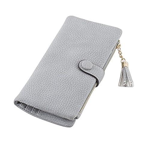 Ylen Frauen Leder Portemonnaie mit Reißverschluss Portmonee Geldbeutel Schnalle Münze Geldbörse Kartenhalter Clutch für