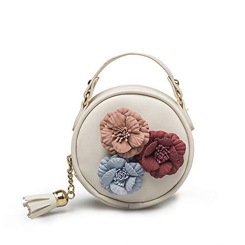 TIFIY Kinder Quaste Kreis-Form Floral Handtasche Schultertasche Mini Kuriertasche Weiß -