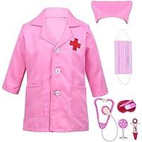Alvivi Uniforme de Trabajo Bata Blanca Abrigo de Laboratorio Farmacia Chaqueta Disfraz Traje de Doctor Enfermera