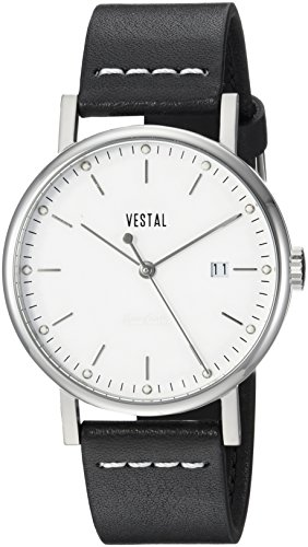 Vestal Men's Sophisticate 36' Swiss Quartz Stainless Steel and Leather Dress Watch, (Model: SP36L03) One Size Black