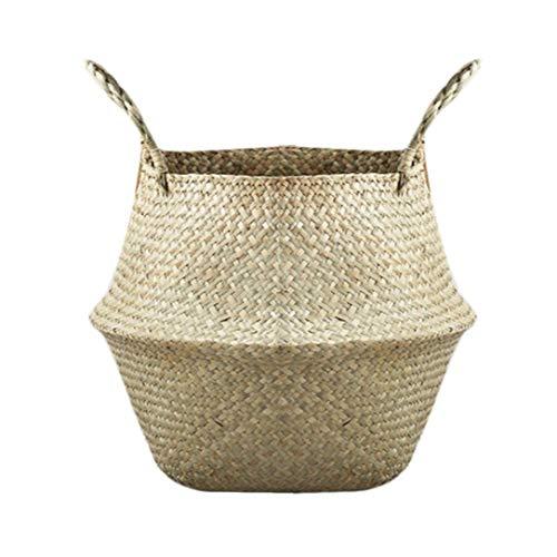 Monllack Compact Natur Seegras Woven Speichertopf Garten-Blumen-Vase hängender Korb mit Griff Lagerung aufgeblähten Korb (Hängende Lagerung-körbe)