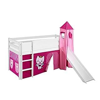 Lilokids Spielbett Jelle Angel Cat Sugar, Hochbett mit Turm, Rutsche und Vorhang Kinderbett, Holz, weiß, 198 x 98 x 113 cm