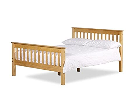 Happy Beds Somerset Solid Waxed Pine Wooden Bed Bedroom Furniture with Pocket Flexi Mattress 4'6'' Double 135 x 190