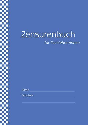 Zensurenbuch / Notenbuch für den Fachlehrer (bis zu 20 Klassen) Umschlag blau