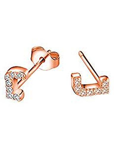 FindOut rosé vergoldet 925 Sterling Silber Mikro Inlay Zirkon 26 Buchstaben A / B / C / D / E / F / G / H / I / J / K / L / M / N / O / P / Q / R / S / T / U / V / W / X / Y / Z. Ohrringe (f1278) (J)