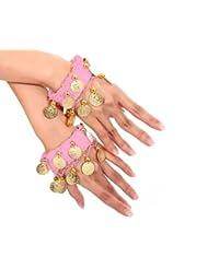 la danse du ventre bracelet de chaîne de main bijoux à la main bracelets avec des pièces de couleur or (la paire) en rose NOUVEAU
