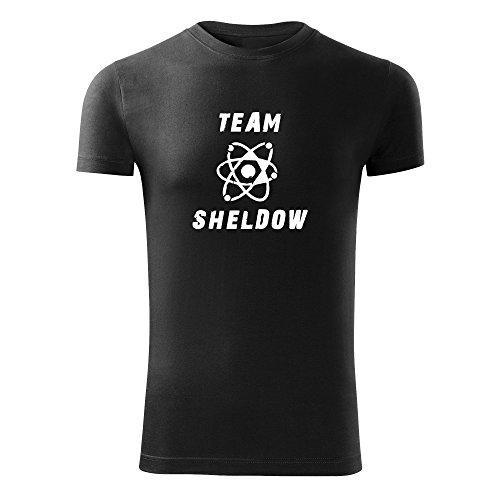Herren Shirt Team Sheldow schwarz & weiß Motiv - T-Shirt Poloshirt mit Motiv - Neu S - XXL Schwarz