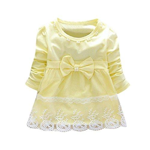 nzessin Kleid Kinderbekleidung Baby Tutu Kleid Outfit Kleidung Spitze Kleid Blumen Kleinkind LMMVP(6-24Monat (Gelb, 70 (6Monat)) ()