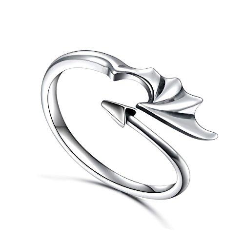 änner Sterling Silber Drachenring Teufel Schwanz Pfeile Verstellbarer Öffnen Sie den Ring ()