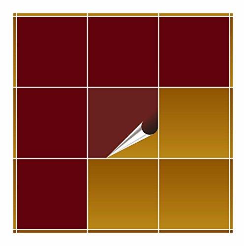 FoLIESEN Fliesenaufkleber für Bad und Küche - 20x20 cm - purpurrot glänzend - 10 Fliesensticker für Wandfliesen