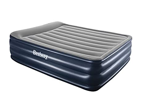 Bestway Night Right Raised Airbed - Queen, Blue, with Built-In Electric Pump and Pillow