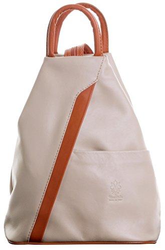 Primo Sacchi ® Italienisch Weicher Napa leichtes beige & tan Leder-Schultertasche Rucksack Rucksack. Inklusive Markenschutz-Aufbewahrungstasche -