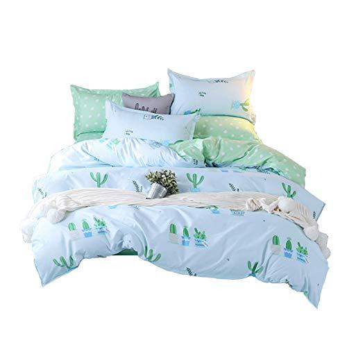 ED-Lumos 4 teilig Bettgarnitur Bettwäsche Set Bettbezug Betttuch Kopfkissenbezug Baumwolle Kakteengewächse Grün 150 cm x 200 cm