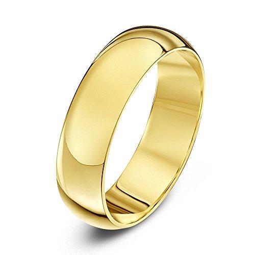 Theia Unisex Ehering 14 Karat Gelbgold, Sehr massive D-Form, poliert, 5mm - Größe 72 (22.9)