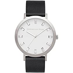 Christian Paul sw-05Herren Edelstahl schwarz Leder Band Weiß Zifferblatt Uhr
