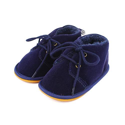 Lacofia stivaletti invernali con suola in gomma per bambini scarpe primi passi bimba blu marino 3-6 mesi