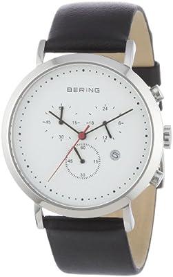 Bering Classic - Reloj cronógrafo de caballero de cuarzo con correa de piel negra - sumergible a 50 metros de Bering