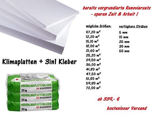 Renovierset Klimaplatten - aus Calciumsilikat 50mm VORGRUNDIERTES Set - sparen Sie Zeit, Geld & Arbeit! (21,60 m²)