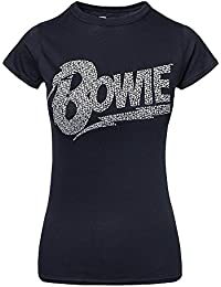 David Bowie T Shirt Flash Diamante Logo Official Womens Skinny Fit Black