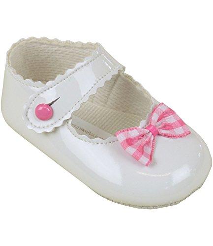 BabyPrem Bébé Chaussures Souple Baptême Filles Vichy Rose Arc Vêtements Candy Rose