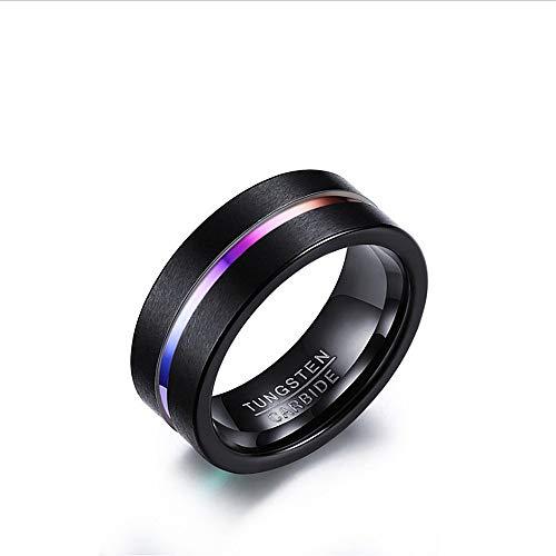 Anello da uomo basic black color 1pezzo uomo anelli wedding engagement band anello in tungsteno fine lucidato bordo comfort fit con confezione regalo blu taglia 7-12 fede nuziale (dimensione : 8)