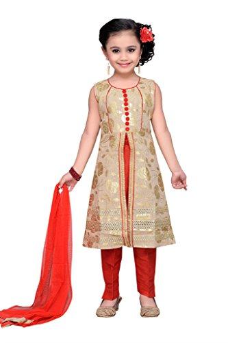 Adiva Girl's Party Wear Kurta and Pyjami Suit Set (G_1011_RED_32)