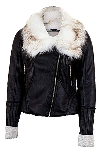 Branded Sapphire Reißverschluss Leder PVC Pelzkragen Wolle Gefüttert Langarm Jacke - Schwarz, XL (UK 14) -