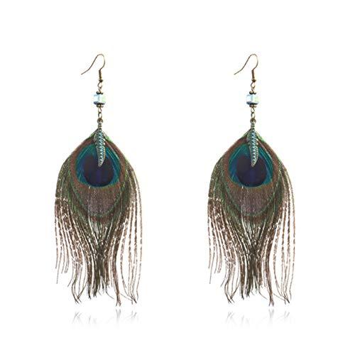 Natürliche Pfau-Ohrringe Feder-Ohrringe Stilvolle Exotic Fashion Style für Frauen ein Paar Ohrringe (Natürliche Pfauenfedern 30)