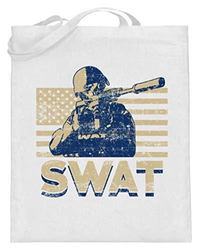 Behörde Weißes T-shirt (SPIRITSHIRTSHOP SWAT - Special Weapons And Tactics - Taktische Spezialeinheiten Der Polizei, Polizisten - Jutebeutel (mit langen Henkeln) -38cm-42cm-Weiß)