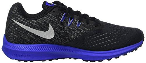 Nike Men Zoom Winflo 4 Scarpe Da Corsa Nere (nero / Mtlc Argento-cool Grigio-racer Blu)