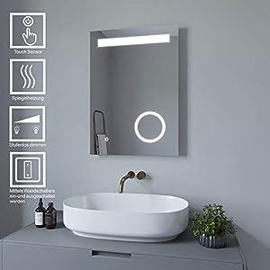 AQUABATOS 70x50 cm Badspiegel Schminkspiegel mit Beleuchtung Badezimmerspiegel Lichtspiegel LED Wandspiegel Dimmbar mit Touch-Schalter kaltweiß IP44 energiesparend