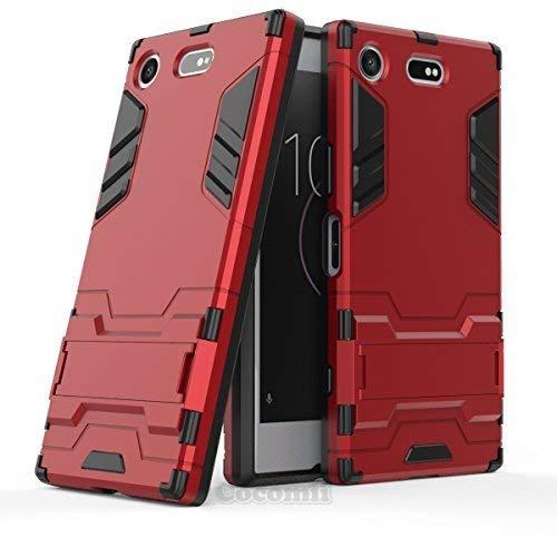 Cocomii Iron Man Armor Sony Xperia XZ1 Compact Hülle NEU [Strapazierfähig] Taktisch Griff Ständer Stoßfest Gehäuse [Militärisch Verteidiger] Case Schutzhülle for Sony Xperia XZ1 Compact (I.Red) Rot Compact Camera Case