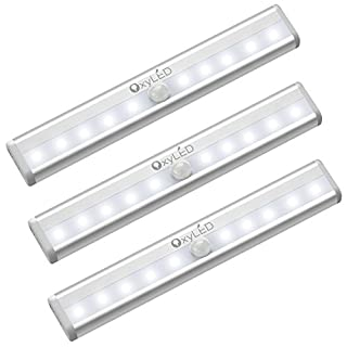 OxyLED Motion Sensor Lights Indoor,Wardrobe Lights,Under Cabinet Light,Auto On/Off Stick On Anywhere Battery Operated for Wall Closet Cabinet,Stairs,Drawer,Wardrobe,Vanity Mirror,White,(10 LED,3Pack) (B0783BP7BL) | Amazon price tracker / tracking, Amazon price history charts, Amazon price watches, Amazon price drop alerts
