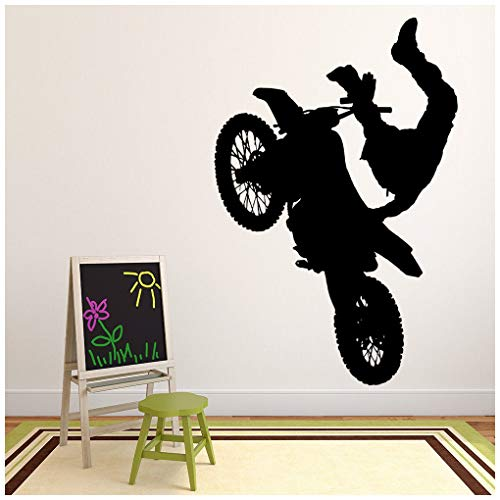 azutura Dirt Bike Jump Wandtattoo Motorrad Wand Sticker Jungen Schlafzimmer Haus Dekor verfügbar in 5 Größen und 25 Farben Klein Gold Metallic (Bike Gold Dirt)