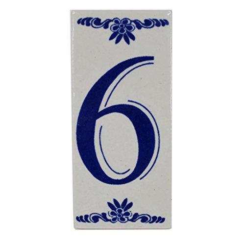 Preisvergleich Produktbild Hausnummer aus Keramik ~ Zahl 6 ~ alter Friesland-Look ~ blau weiß ~ 12 x 5, 5 x 0, 7 cm