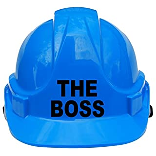 The Boss Children, Kids Hard Hat Safety Helmet with Chin Strap One Size Adjustable Suitable for 4-12 Years -Blue