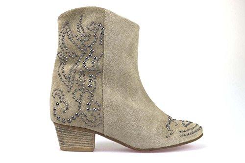 scarpe donna SERAFINI stivaletti beige camoscio / borchie AM774 (36 EU)